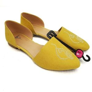 Baby Phat Mustard Yellow Pointed Flats Silver Stud